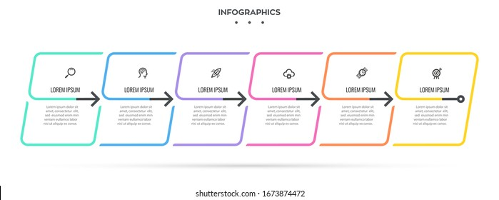 Vector Infographic design with 6 options or steps. Infographics for business concept. Can be used for presentations banner, workflow layout, process diagram, flow chart, info graph