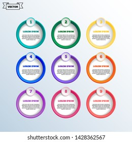 Vector infographic design with colorful circles. Business concept. 9 options, parts, steps. Can be used for graph, diagram, chart, workflow layout, number options, web