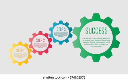 Vector infographic design with colorful gears. Useful for business presentations and information banners.