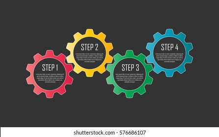 Vector infographic design with four colorful gears on dark background. Infographics for business presentations or information banner.