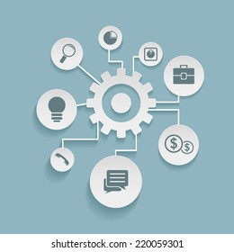 Vector infographic design with gears and business icons on blue background. Bright illustration