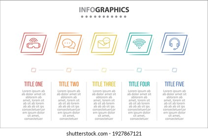 Vector Infographic design with icons. 5 options or 5 steps. process diagram, flow chart, info graph, Infographics for business concept, presentations banner, workflow layout.
