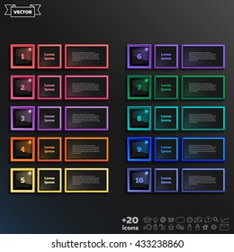 Vector infographic design list with colorful square on the black background. Business concept. 10 options, parts, steps. Can be used for graph, diagram, chart, workflow layout, number options, web