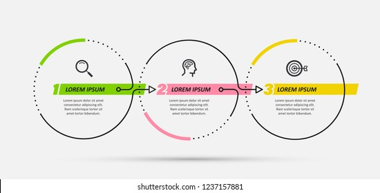 Vector Infographic design template with 3 options or steps.  Can be used for process diagram, presentations, workflow layout, banner, flow chart, info graph.