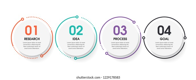 Vector Infographic design template with 4 numbers options or steps.  Can be used for process diagram, presentations, workflow layout, banner, flow chart, info graph.