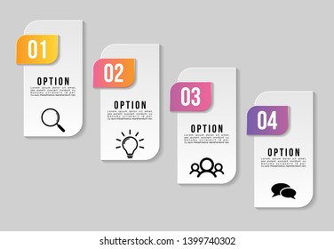Vector Infographic Design Template with 4 Options Steps and Marketing Icons can be used for info graph, presentations, process, diagrams, annual reports, workflow layout