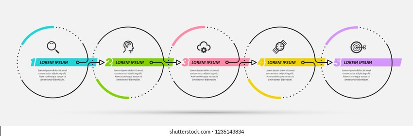 Vector Infographic design template with 5 options or steps.  Can be used for process diagram, presentations, workflow layout, banner, flow chart, info graph.