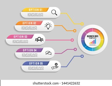 Vector Infographic Design Template with 6 Options Steps and Marketing Icons. Business Data Visualization can be used for info graph, presentations, process, diagrams, annual reports, workflow layout