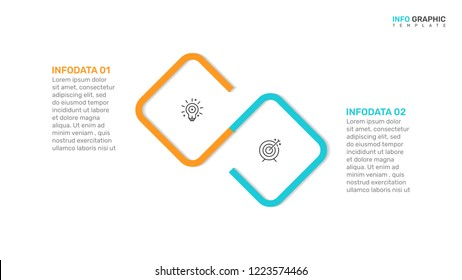 Vector infographic design template. Business concept with 2 options, steps, process. Can be used for workflow diagram, report, presentation.