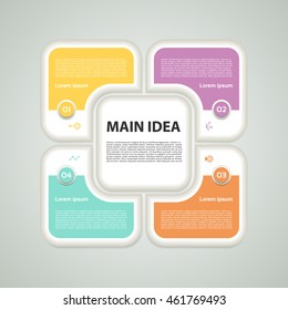 Vector infographic design template. Business concept with 4 options, parts, steps or processes. Can be used for workflow layout, diagram, number options, web design. Data visualization.