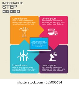 Vector infographic design template. Business concept with 4 options, parts, steps or processes. Can be used for workflow layout, diagram, number options, web design.
