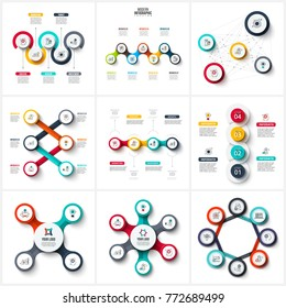 Vector infographic design template. Business concept with 4, 5, 6, 7 and 8 options, parts, steps or processes. Can be used for workflow layout, diagram, number options, web design. Data visualization.