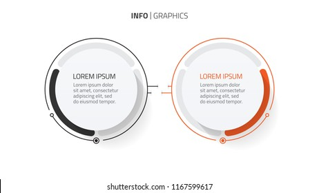 Vector infographic design template elements with thin line and modern circle shapes. Business concept with 2 steps, options or process.