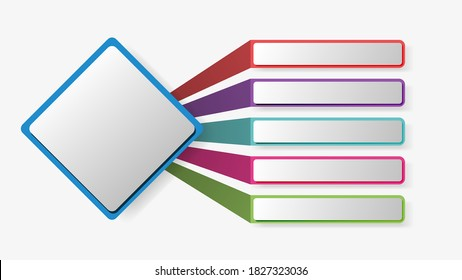 Vector infographic design template. Five components, steps, stages. Isolated on white background