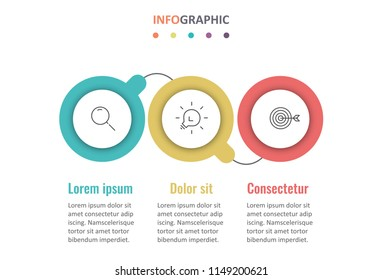 Vector Infographic design template with icons and 3 options or steps.  Can be used for process diagram, presentations, workflow layout, banner, flow chart, info graph.