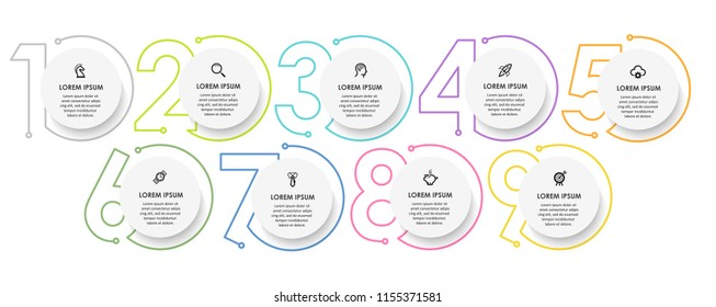 Vector Infographic design template with icons and 9 numbers options or steps.  Can be used for process diagram, presentations, workflow layout, banner, flow chart, info graph. - Shutterstock ID 1155371581