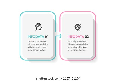 Vector Infographic design template with icons and  2 options or steps. Infographics for business concept. Can be used for presentations banner, workflow layout, process diagram, flow chart, info graph