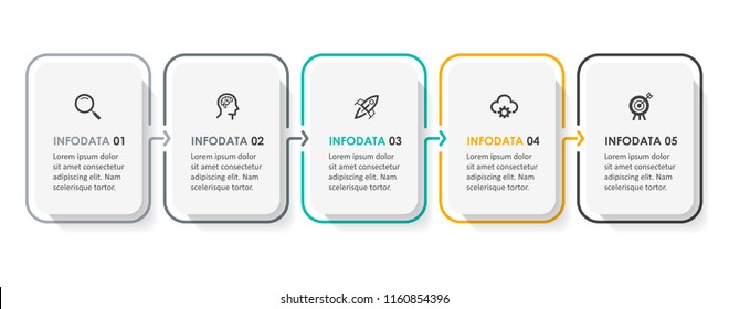 Vector Infographic design template with icons and  5 options or steps. Infographics for business concept. Can be used for presentations banner, workflow layout, process diagram, flow chart, info graph