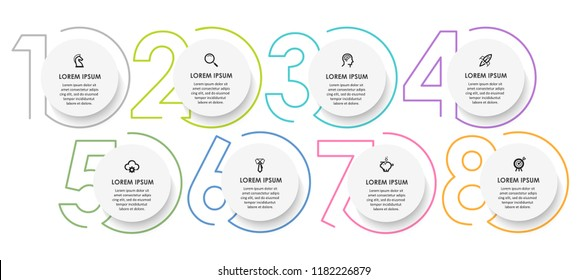 Vector Infographic design template with icons and 8 numbers options or steps.  Can be used for process diagram, presentations, workflow layout, banner, flow chart, info graph.