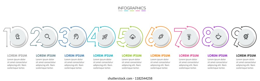 Vector Infographic design template with icons and 9 numbers options or steps.  Can be used for process diagram, presentations, workflow layout, banner, flow chart, info graph.