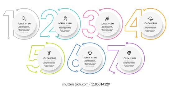 Vector Infographic design template with icons and 7 numbers options or steps.  Can be used for process diagram, presentations, workflow layout, banner, flow chart, info graph.
