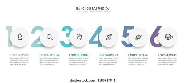 Vector Infographic design template with icons and 6 numbers options or steps.  Can be used for process diagram, presentations, workflow layout, banner, flow chart, info graph.