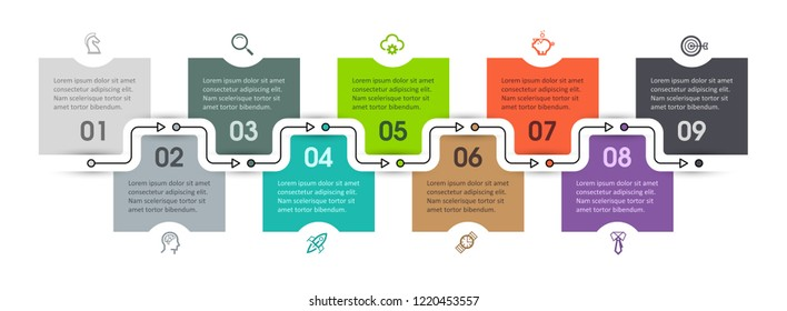 Vector Infographic design template with icons and 9 options or steps. Infographics for business concept. Can be used for presentations banner, workflow layout, process diagram, flow chart, info graph