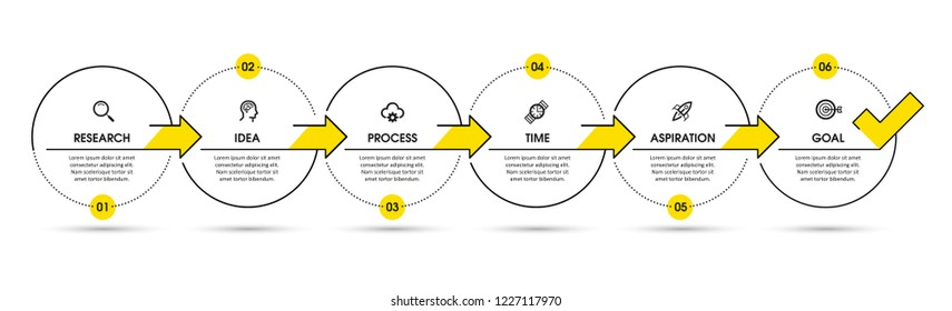 Vector Infographic design template with icons and 6 options or steps.  Can be used for process diagram, presentations, workflow layout, banner, flow chart, info graph.