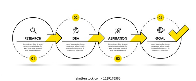 Vector Infographic design template with icons and 4 options or steps.  Can be used for process diagram, presentations, workflow layout, banner, flow chart, info graph.