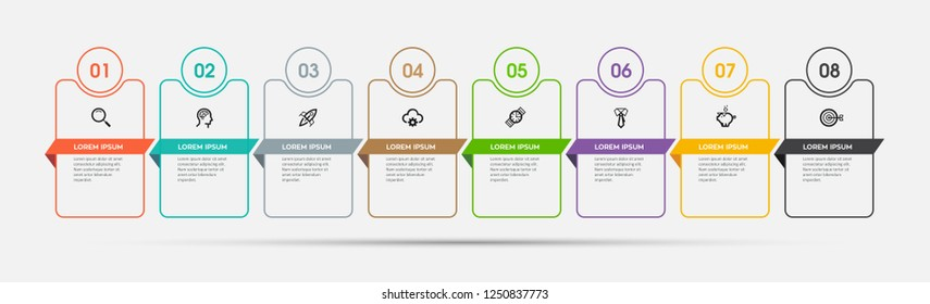 Vector Infographic design template with icons and 8 options or steps.  Can be used for process diagram, presentations, workflow layout, banner, flow chart, info graph.