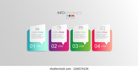 vector Infographic design template with icons and 4 options Can be used for business concept. process, flow chart, presentation, workflow layout, chart, graph,Vector illustration.