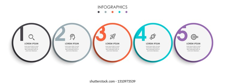 Vector Infographic design template with icons and 5 numbers options or steps.  Can be used for process diagram, presentations, workflow layout, banner, flow chart, info graph.