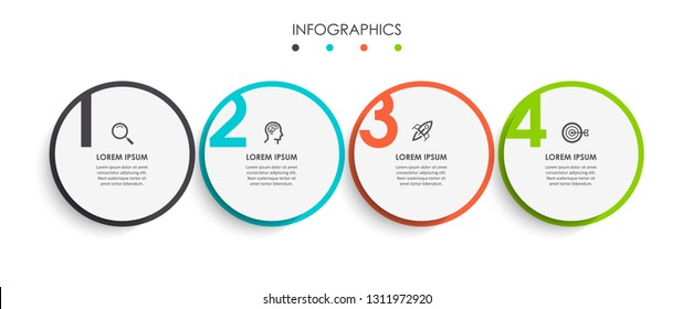 Vector Infographic design template with icons and 4 numbers options or steps.  Can be used for process diagram, presentations, workflow layout, banner, flow chart, info graph.