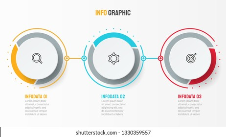 Vector infographic design template with icons. Business concept with 3 options or steps. Can be used for process diagram, workflow layout, info graph, annual report,  flow chart.