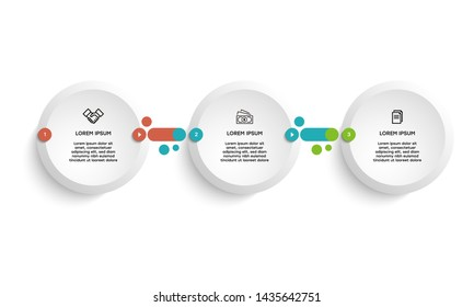 Vector Infographic design template with icons and 3 numbers options or steps. Can be used for process diagram, presentations, workflow layout, banner, flow chart, info graph.