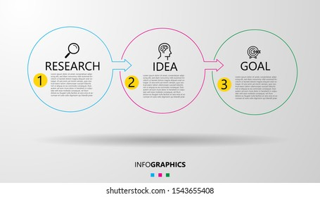 Vector Infographic design template with icons and 3 options or steps. Can be used for process diagram, presentations, workflow layout, banner, flow chart, info graph