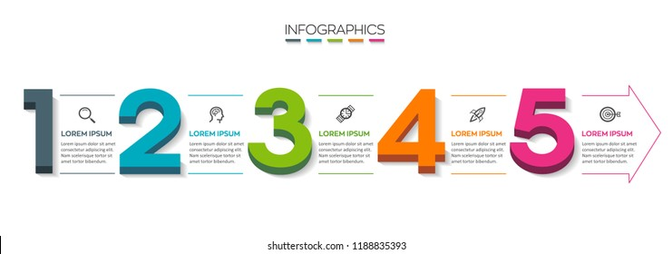 Vector Infographic design template with isometric numbers and 5 options or steps.  Can be used for process diagram, presentations, workflow layout, banner, flow chart, info graph.