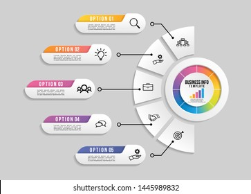 Vector Infographic Design Template with Options Steps and Marketing Icons. Business Data Visualization can be used for info graph, presentations, process, diagrams, annual reports, workflow layout