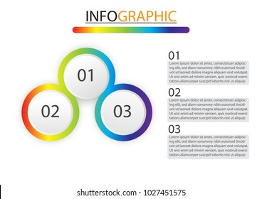 vector infographic design with three circle options,3 steps