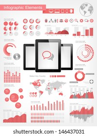 Vector infographic elements collection. Realistic tablets vector illustration with various of infographic elements as charts, diagrams and infographic map for data visualization.