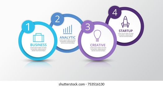Vector infographic elements for presentation. Business infographics. Timeline with 4 circles, steps, with shadow.