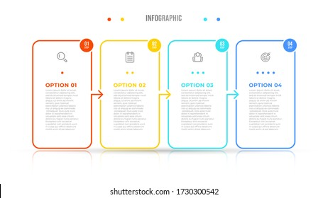 Vector infographic elements thin line design label with icons. Business concept with 4 options, steps. Can be used for workflow diagram, info chart, graph.
