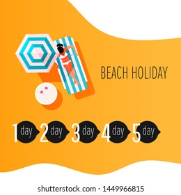 Vector infographic elements of time to sunbathe. Sunburn treatment infographic. Girl with sunburn skin. Skin protection and sun safety
