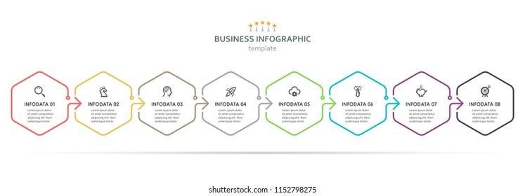 Vector Infographic hexagon design with icons and 8 options or steps. Infographics for business concept. Can be used for presentations banner, workflow layout, process diagram, flow chart, info graph