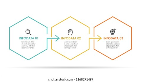 Vector Infographic hexagon design with icons and 3 options or steps. Infographics for business concept. Can be used for presentations banner, workflow layout, process diagram, flow chart, info graph