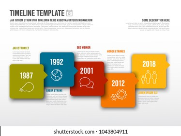 Vector Infographic horizontal timeline template made from arrow bubbles and icons