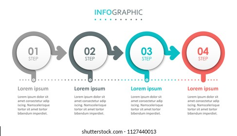 Vector Infographic label design with 4 options or steps. Infographics for business concept. Can be used for presentations banner, workflow layout, process diagram, flow chart, info graph
