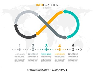 Vector Infographic label design with 5 options or steps. Infographics for business concept. Can be used for presentations banner, workflow layout, process diagram, flow chart, info graph