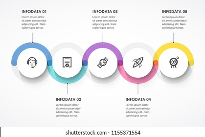 Vector Infographic label design with circles and 5 options or steps. Infographics for business concept. Can be used for presentations banner, workflow layout, process diagram, flow chart, info graph