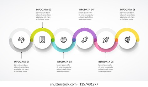 Vector Infographic label design with circles and 6 options or steps. Infographics for business concept. Can be used for presentations banner, workflow layout, process diagram, flow chart, info graph